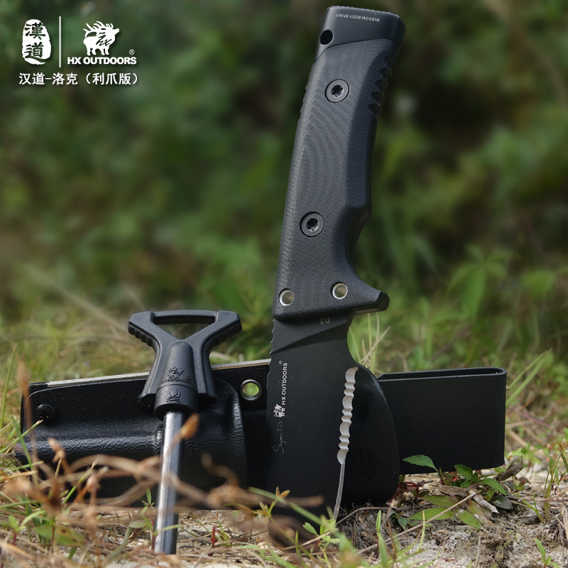 HX OUTDOORS Good Straight Blade Knife Anti-skid Handle Knives D2 Stainless Steel EDC Tools Tactical Army Survival Gear Knife