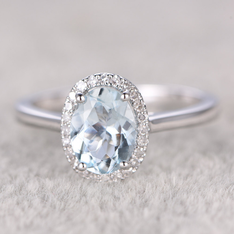 6x8mm 1.2CT Oval Cut Aquamarine Engagement Ring White