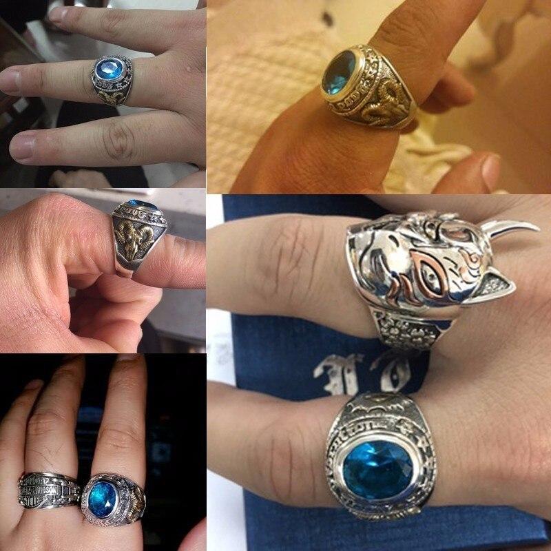 ZABRA 925 Argent Bleu Zircon Hommes Anneau Vintage Pierre Punk Rock Or Moutons Tête Thai Main Femmes Anneaux Sterling Argent bijoux - 5