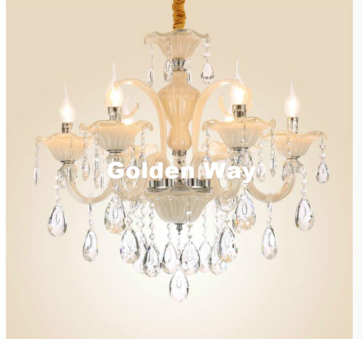 Modern White Champagne Crystal Chandelier European Pendant lustres de cristal Decoration Pendants and Chandeliers Home Lighting ship from germany crystal candle decoration chandelier pendant 10 arms lamp lustres de cristal chandeliers