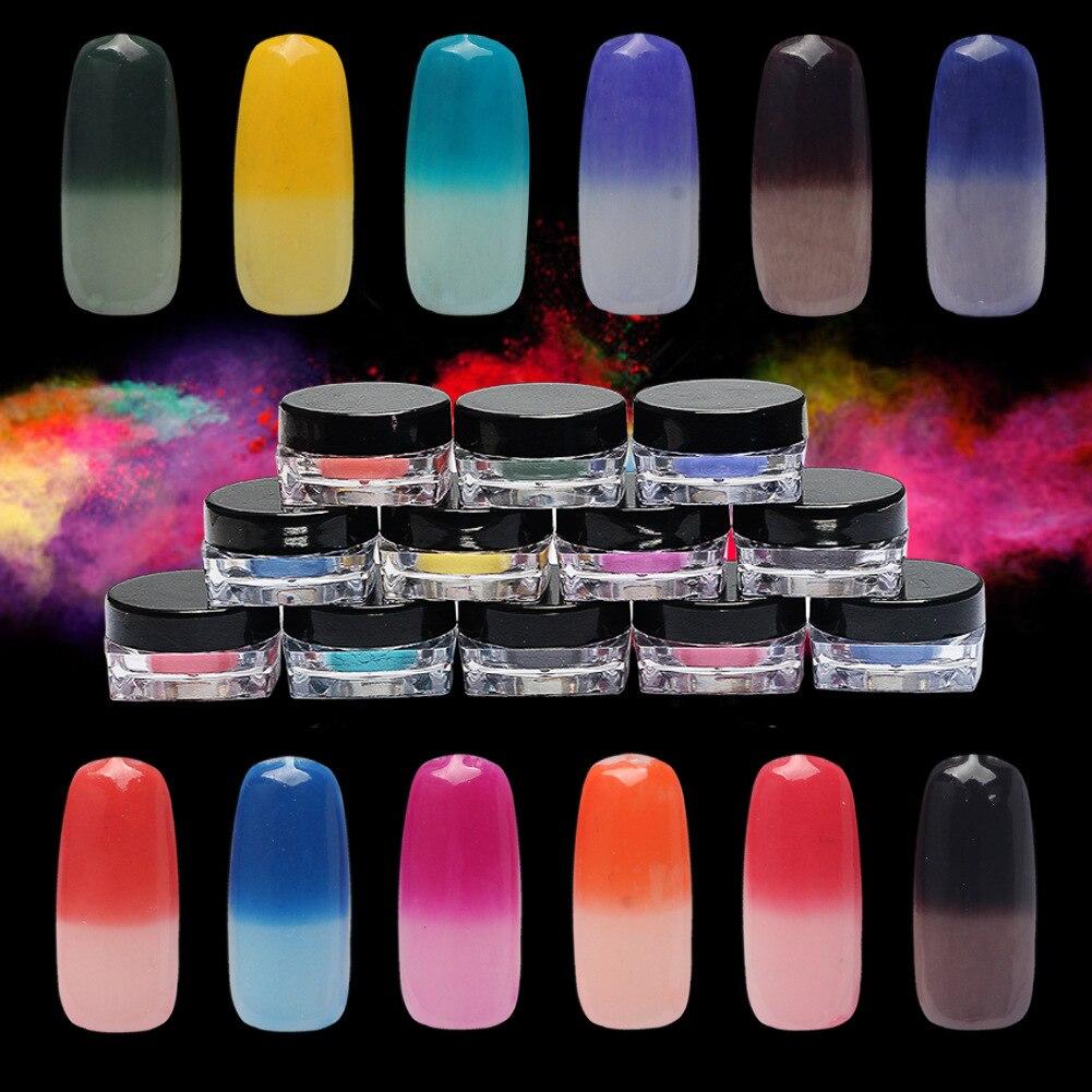 Fernanda boutique Store New 12 Colors Thermochromic Pigment Thermal Color Change Temperature Powder Dust Decoration Gradient 3D Tips Manicure Tools 2017