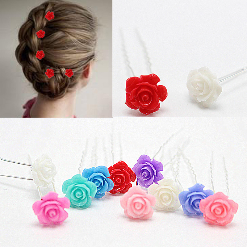 5pc/lot Girl Wedding Bride Jewelry Accessories Red Colorful Rose Flower Hairpins Headwear U Shape Bun Hair Pins Clip Stick HP084