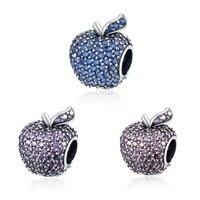 Regalo de la madre de apple encantos de plata de ley 925 con circón collar de la pulsera apta accesorios mujer joyería fina de calidad superior