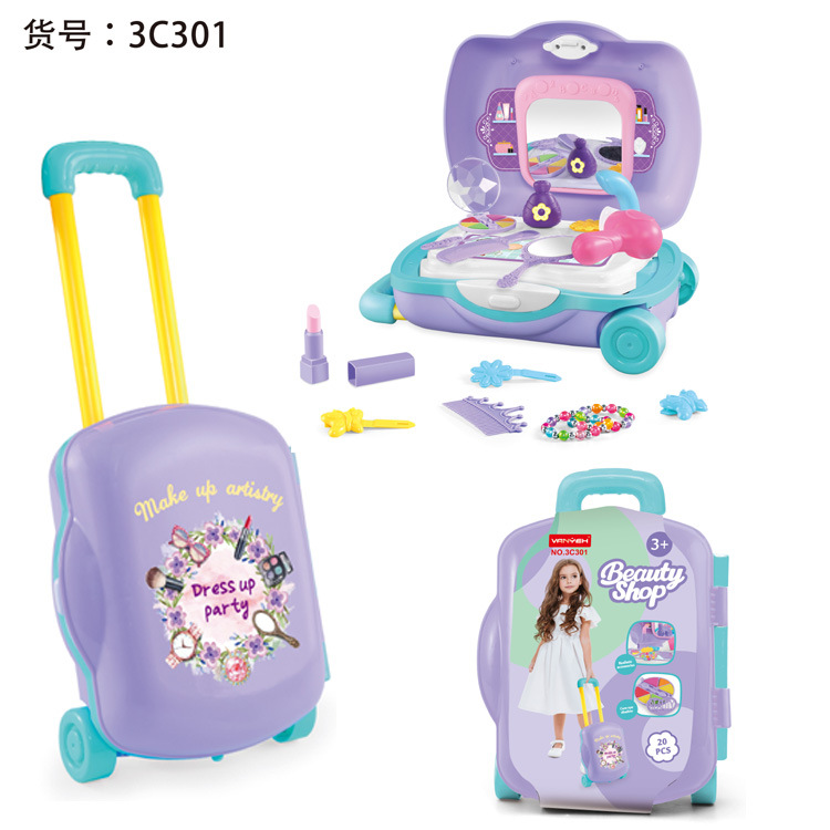 Toy Kids Pretend Vanity Play set Suitcase,Dresser Cutlery Kitchen Cutlery Doctor Trolley Box Pretend Play Toy Set For Children.