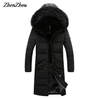 M 4XL 2016 Black Gray High Quality Hooded Winter Casual Long Parka Men Slim Fit Winter