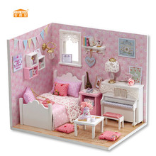 CUTE ROOM New arrival Miniature Wooden Doll House With DIY Furniture Fidget Toys For Kids Children Birthday Gift Princess H015