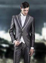 Latest Coat Pant Designs Grey Satin Trim Men Suit Slim Fit Suits Italian Tuxedo Custom 3 Piece Groom Prom Blazer Terno Masculino