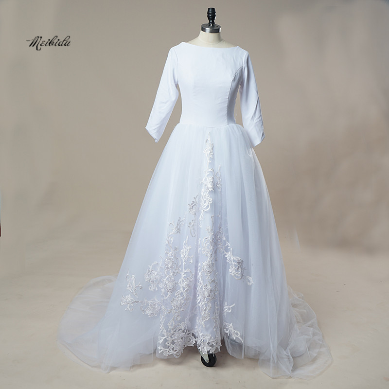 Simple Design Wedding Dresses Long 2017 Appliques Bride