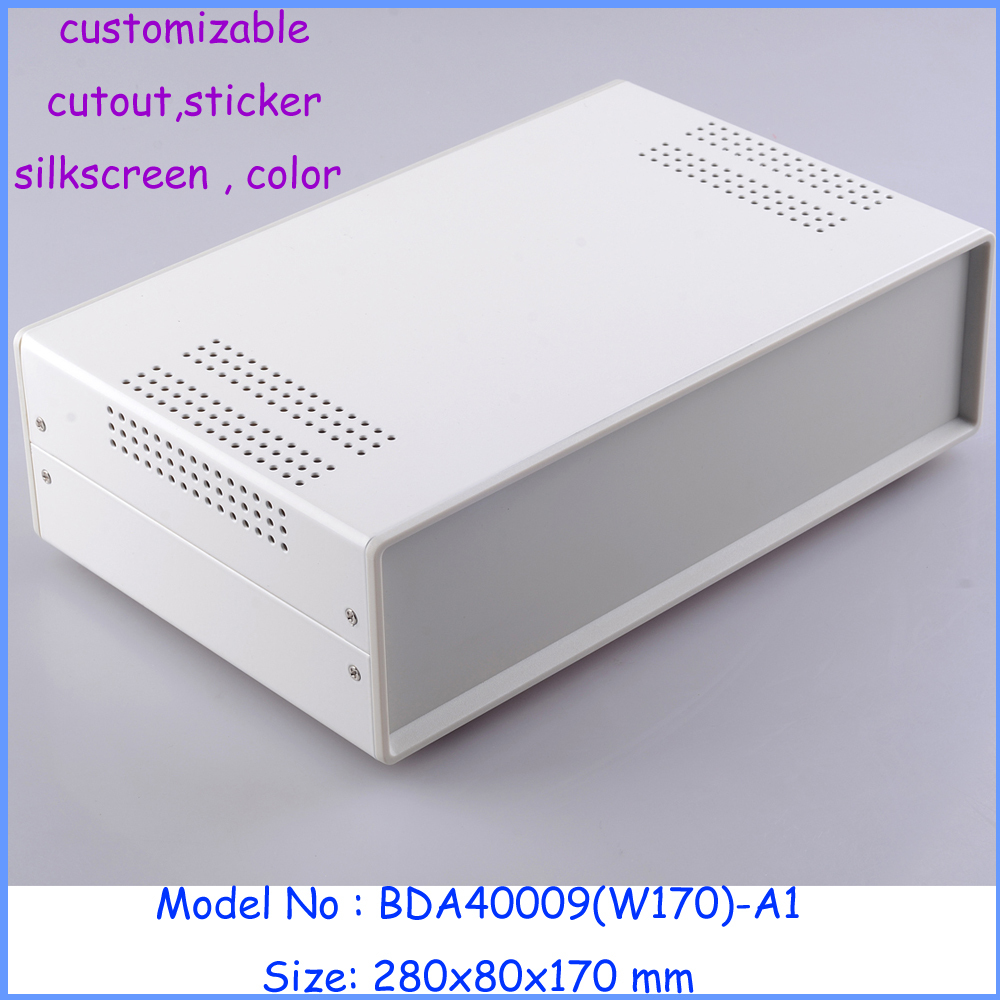 aluminium extrusion metal iron housing white color 280*80*170mm power amplifier pcb electric box plastic panelsaluminium extrusion metal iron housing white color 280*80*170mm power amplifier pcb electric box plastic panels