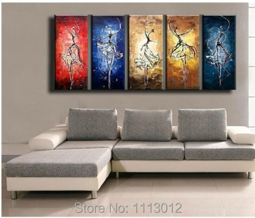 Hot Sale High Quality 5 Pcs Dancers Oil Painting On Canvas Abstract Home Decoration Modern Wall Picture For Living Room Sale