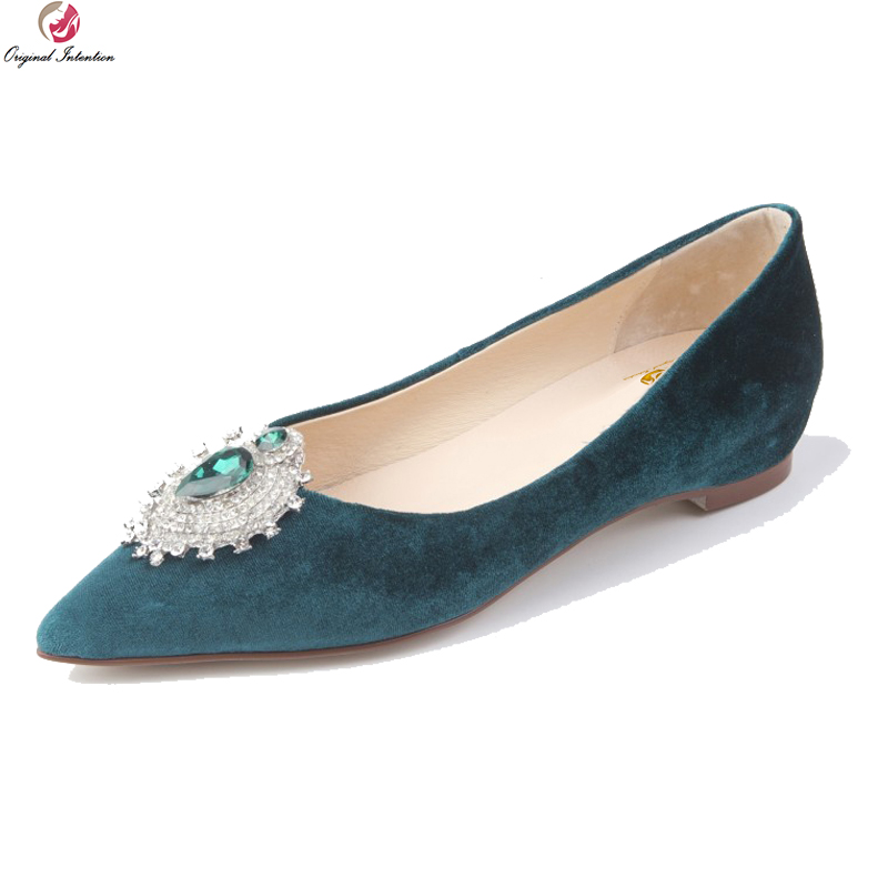Original Intention New Gorgeous Women Flats Fashion Rhinestone Pointed Toe Flat Shoes Popular 5 Colors Shoes Woman US Size 4-8.5 new listing pointed toe women flats high quality soft leather ladies fashion fashionable comfortable bowknot flat shoes woman
