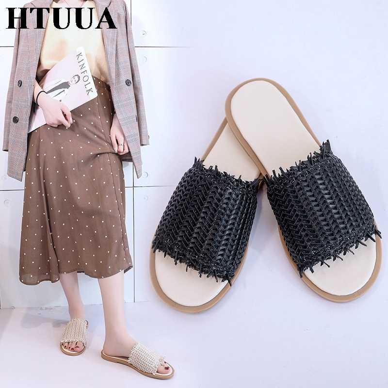 HTUUA стиль, экокожа (полиуретан), тканевые тапочки Для женщин на мягкой плоской подошве; сланцы Летняя обувь женские босоножки снаружи Пляжные сланцы домашние SX2352