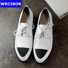 Genuine leather Flat Oxford Shoes font b Woman b font Flats 2017 Fashion Horsehair lace up