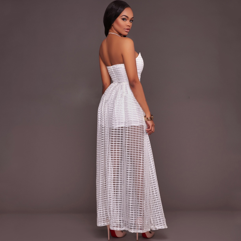 2017 Summer False Two Piece Strapless White Maxi Dress Sexy Off Shoulder  Backless Plaid Bodycon Women Vestidos Long Black Dress-in Dresses from  Women s ... 488da11e08ca