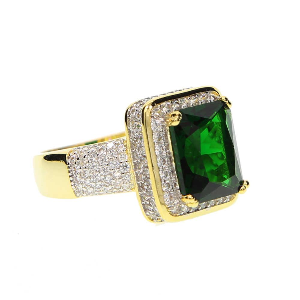 Большая распродажа, модные мужские ювелирные изделия для мальчиков, зеленый большой камень, золото, два тона, высокое качество, микро проложить cz, большое Золотое кольцо для мужчин