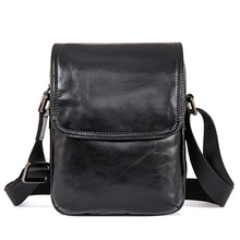 цена на Cow Genuine Leather Messenger Bags Men Travel Business Brand Vintage Black Small  Crossbody Shoulder Bag for Man Sacoche Homme