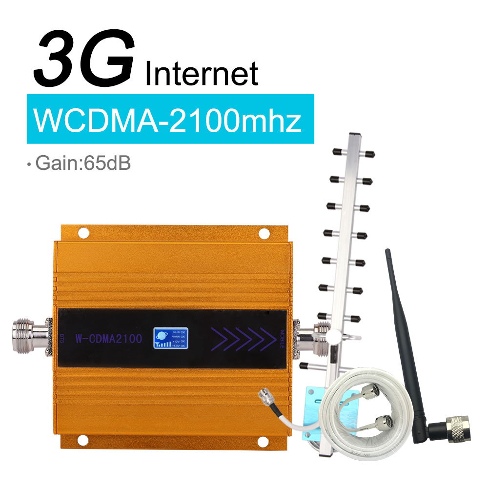 Walokcon conjunto ganho 65db (lte band 1) 2100 umts móvel impulsionador de sinal 3g (hspa) wcdma 2100 mhz 3g umts amplificador repetidor celular