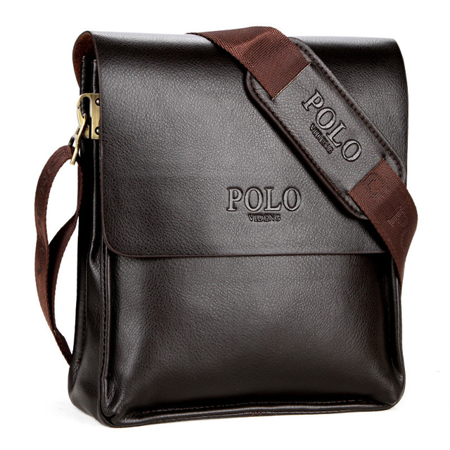 a295f89a93 2018 New Fashion Brand Polo PU Leather Men s Business Casual Shoulder Bag  Briefcase Crossbody Bag Satchel