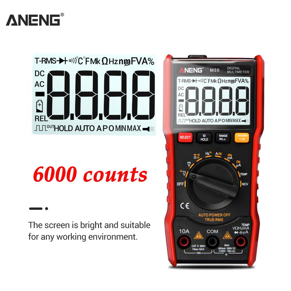 ANENG M20 Digital Multimeter 6000 counts tester esr meter multimetro analogico digital profissional With Backlight AC/<font><b>DC</b></font> Ammeter image