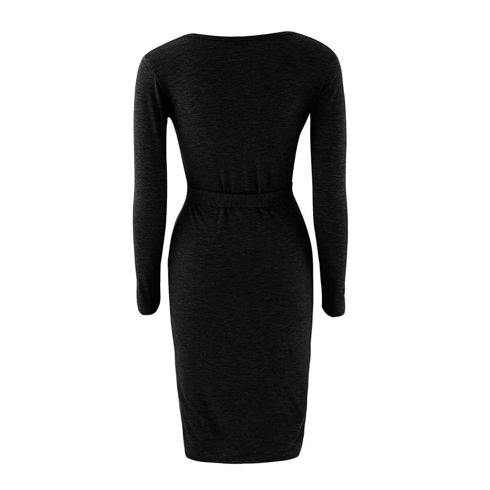 5a9dcc4741d7bd Womens Zwarte Jurk Winter Dames Mode Pakket Hip Slim Button Potlood ...
