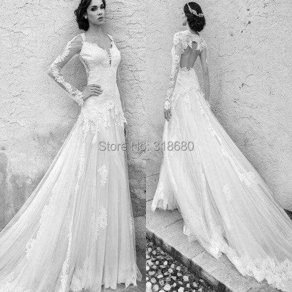 c7cf352324298 Romantic Lace Appliqued Plunge V Neck Wedding Dress Long Sleeve Open Back  Royal Train Wedding Dresses Bridal Gown