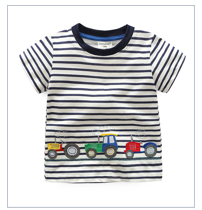 HTB1R1.bQFXXXXcJXpXXq6xXFXXXD - 2017 New Brand top quality kids clothing summer boys short sleeve O-neck t shirt Cotton embroidery cartoon striped tee tops