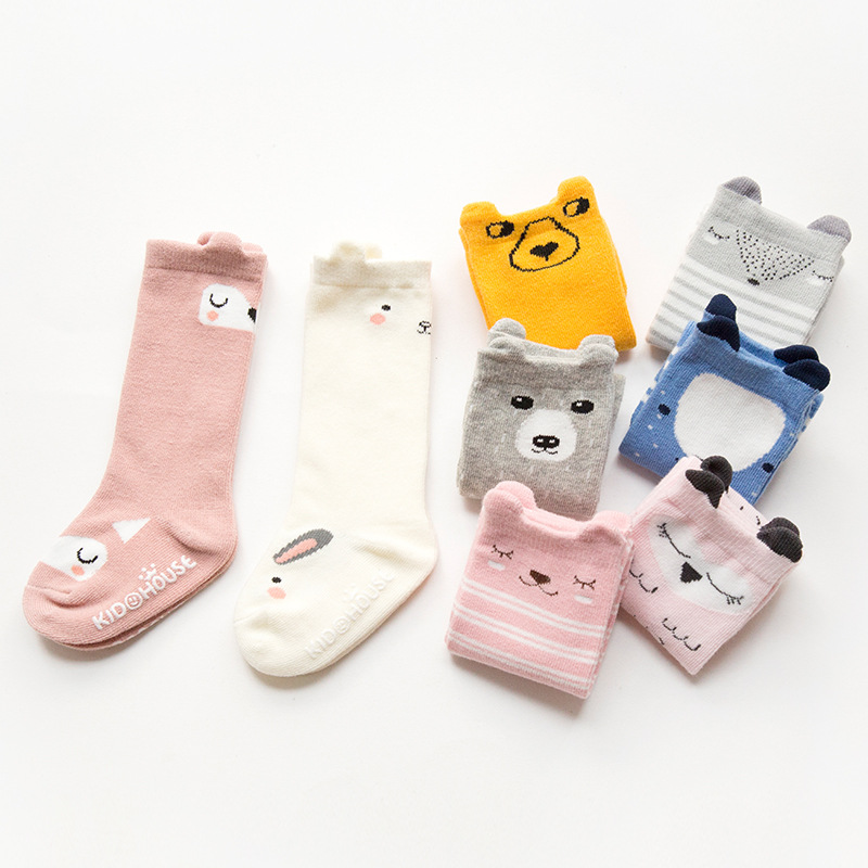 2017 Animal Socks Kids Anti Slip Cute Baby Socks Long Cotton Fox Cat Boys Girls Leg Warmer Stripes Footwear Funny Quality 0-4Y