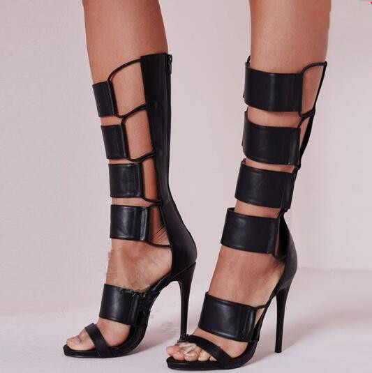 Black leather patches cut-outs sandals open toe thin high heels mid-calf woman gladiator sandal boots size 35-43Black leather patches cut-outs sandals open toe thin high heels mid-calf woman gladiator sandal boots size 35-43