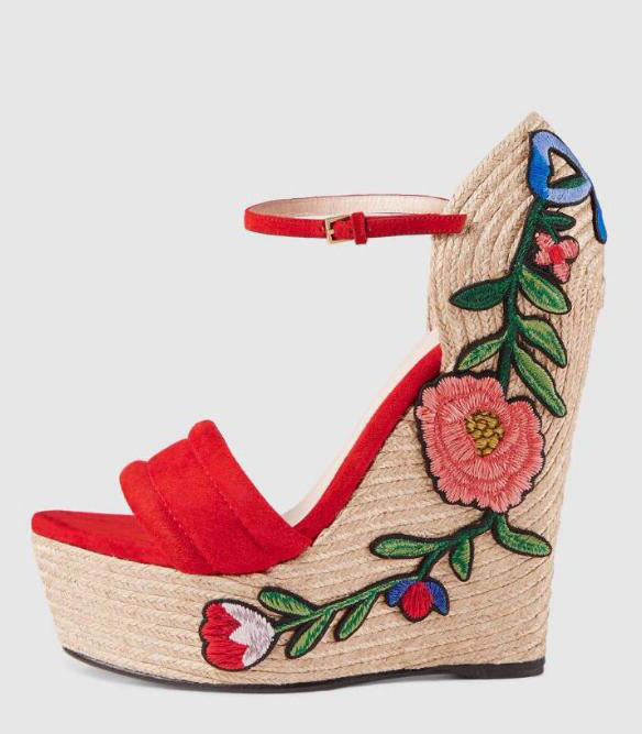 Moraima Snc Flower Embroidery Platform Wedge Sandals Sexy Open Toe Ankle Strap Woman Heels Rope Braided Party Dress Shoes Red