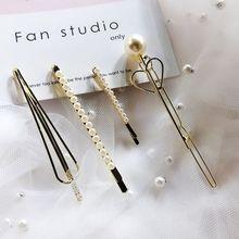 4Pcs/Set Korean Ladies Side Bangs Hair Clips Metal Alloy Geometric Bobby Pins Imitation Pearl Elegant Ponytail Clamp Barrettes цены