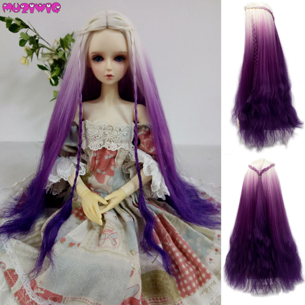 1/4 1/3 Doll Wigs Long Afro Curly White Pink Purple Ombre Color Wigs Hair For BJD/SD Dolls Heat Resistant Fiber Wire