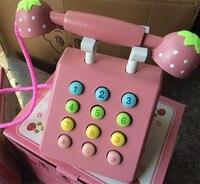 طفل لعب الوردي الهاتف gardon الأم الفراولة محاكاة pink الهاتف أثاث خشبي لعب الأطفال التعليمية هدية عيد