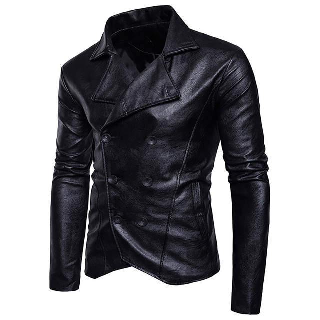 FeiTong Leather Jacket Man 2018 Solid Lapels Outwear Slim Imitation Leather Double-breasted Coats Windbreaker Winter Jacket Men