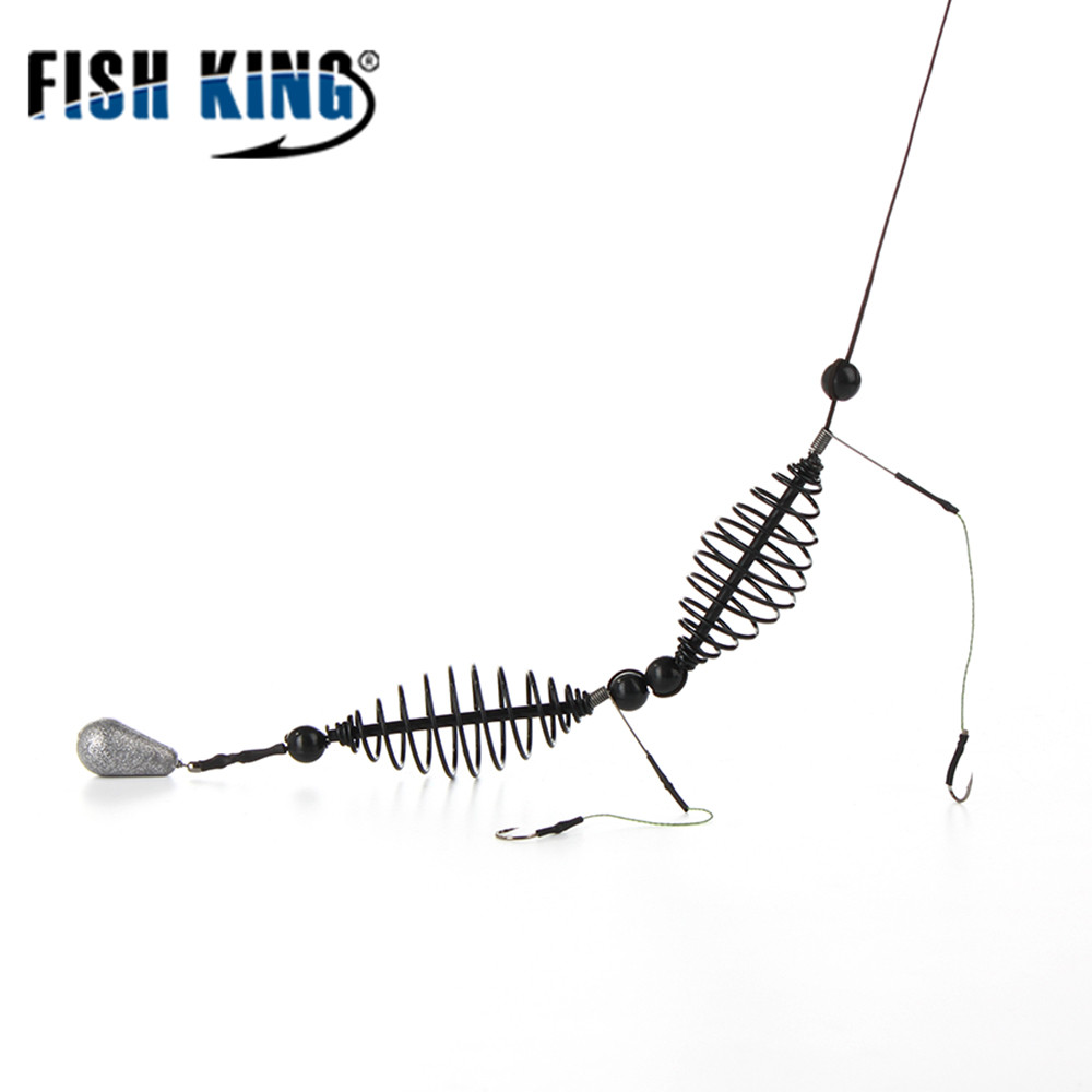 FISH KING 1PC Length 62CM Two Hooks Cage Bait Lure Copper Trap Basket Feeder Holder Lead Sinker Fishing Tackle For Carp Feeder