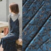 JaneYU Spring And Summer New Vintage Leaf Prints Chiffon Fabric Dress Sling Dress Cloth And Blue Fabric
