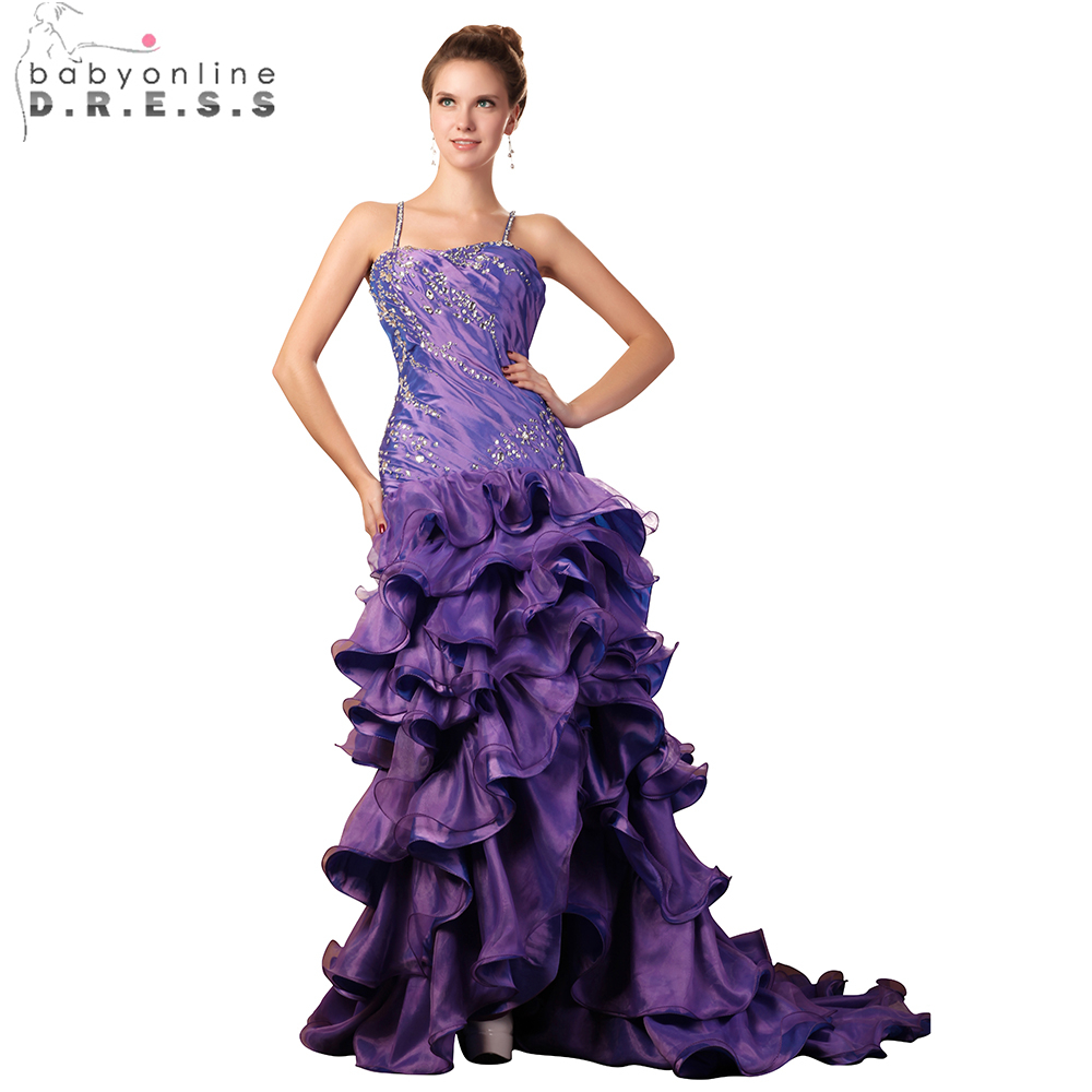 Babyonline Ruffles Purple Taffeta Mermaid   Evening     Dresses   2019 Spaghetti Straps Beaded Crystal Formal   Dress   vestido de festa