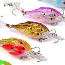 POETRYYI  Fishing Lures 6.2g 7cm Bass Bait Black Feather Hooks Wobbler Tackle Hard Plastic Lure 30