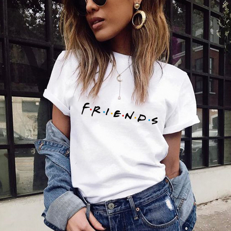 2018 Summer Women T Shirt VOGUE Letter Print Friends Tv T-shirt Casual Short Sleeve Tops Tee O Neck Female Tops Camisetas Mujer