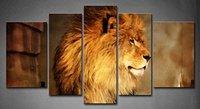 BANMU 5แผงแอฟริกันสิงโตยืนอยู่บนร็อคจิตรกรรมภาพพิมพ์บนผืนผ้าใบสัตว์ภาพไม่มีกรอบ