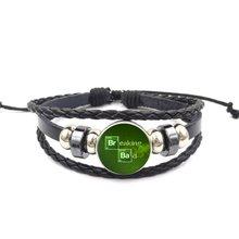 Breaking Bad Antique Vintage Glass Black Leather Bracelet Bangle Women Jewelry