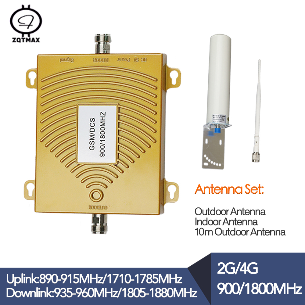 GSM 900 DCS 1800mhz Dual Band Repeater  2G 4G LTE Phone Amplifier Cellular Mobile Booster And Full Set Inside Outside Antenna