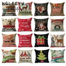 HGLEGYW Рождественская серия Подушка Чехол из хлопка и льна с наволочки для офиса домашний текстиль