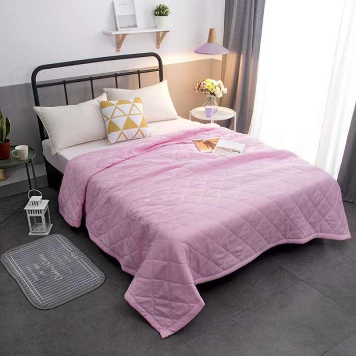 twin king Queen Size Solid pink white Summer Quilt Bedspread Blanket Comforter Bed Cover Quilting Home Suitable thin Coverlet