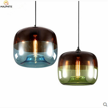 Nordic Stained Glass Pendant Lights Restaurant Bedroom Blue Apple Lighting Pendant Lamp Kitchen Fixtures Hanging Luminaria