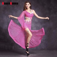 2017 New Sex Women Belly Dance Dress Lace Single Sleeve M L Fishnets Skirt Bollywood Dance