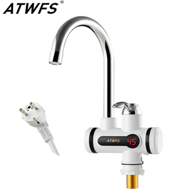 Electric Tankless Hot Water Tap Instant Hot Water Heater Heating Faucet Instantaneous Water Heater for Kitchen and Bathroom image