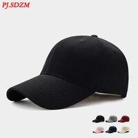 PJ.SDZM Men's Summer Baseball Caps Korean Leisure Version Cap Solid Color Top Cotton Hat