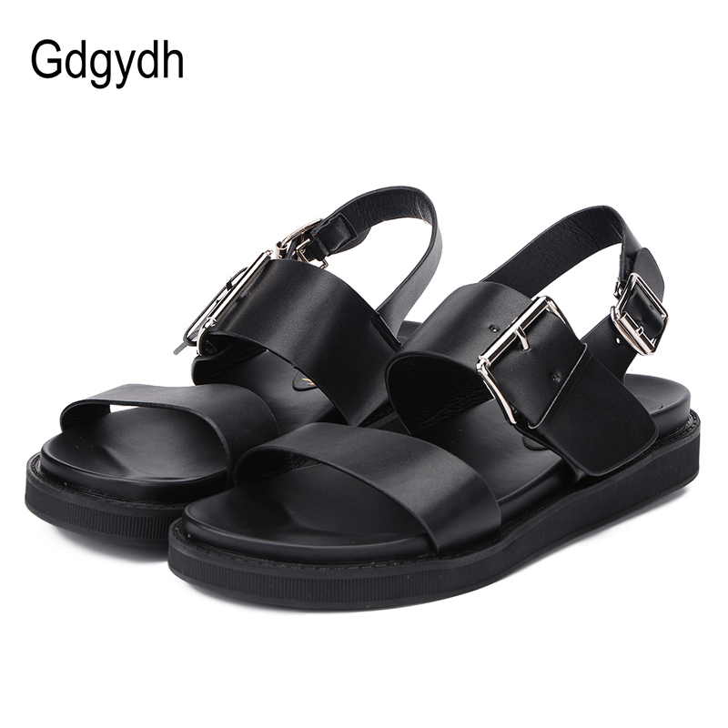 Gdgydh Open Toe Woman Sandals 2018 Summer Rubber Sole Fashion New Ladies Platform Shoes Buckle Strap Black Leather Sandals Women xiaying smile woman sandals shoes women pumps summer casual platform wedges heels sennit buckle strap rubber sole women shoes