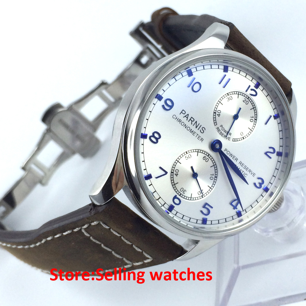 43mm parnis silver dial power reserve automatic movement mens watch casual 43mm parnis automatic power reserve white dial blue numbers silver watch case business watch men