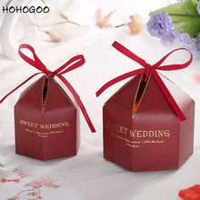 HOHOGOO 10pcs/set Wedding Candy Gift Box Paper Marbling Style Feather Letter Baby Shower Birthday Party Chocolate Boxes Package